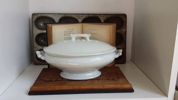 Antique Ironstone Tureen, White Ironstone, Cockson & Seddon Ironstone China