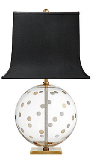 Kate Spade Brass Pole Table Lamp Off White Shade Black Polka Dots