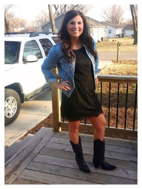 870a68e233a Morgan in a Black Lace Shift Dress with a Jean Jacket and Cowboy boots