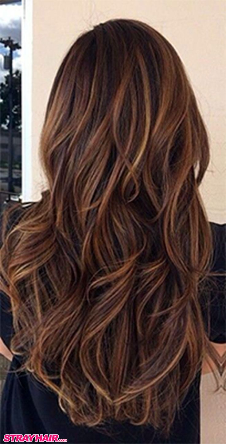 Medium Brown Hair With Caramel Highlights Uphairstyle