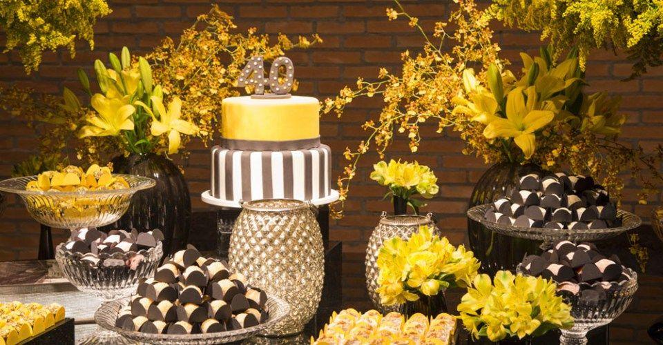Aniversário De 40 Anos Preto E Amarelo Buscando Sonhos Festas