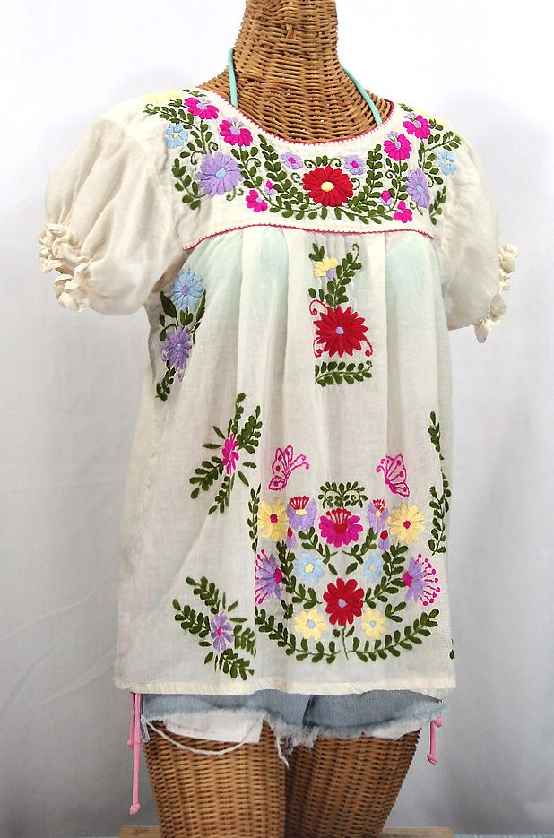 La Mariposa Corta De Color Embroidered Mexican Peasant Blouse Off
