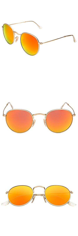 5f31ebd670 LianSan Classic Metal Frame Round Circle Mirrored Sunglasses Men Women  Glasses 3447(Z-orange