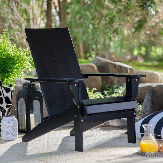 Belham Living Portside Modern Adirondack Chair Black Modern