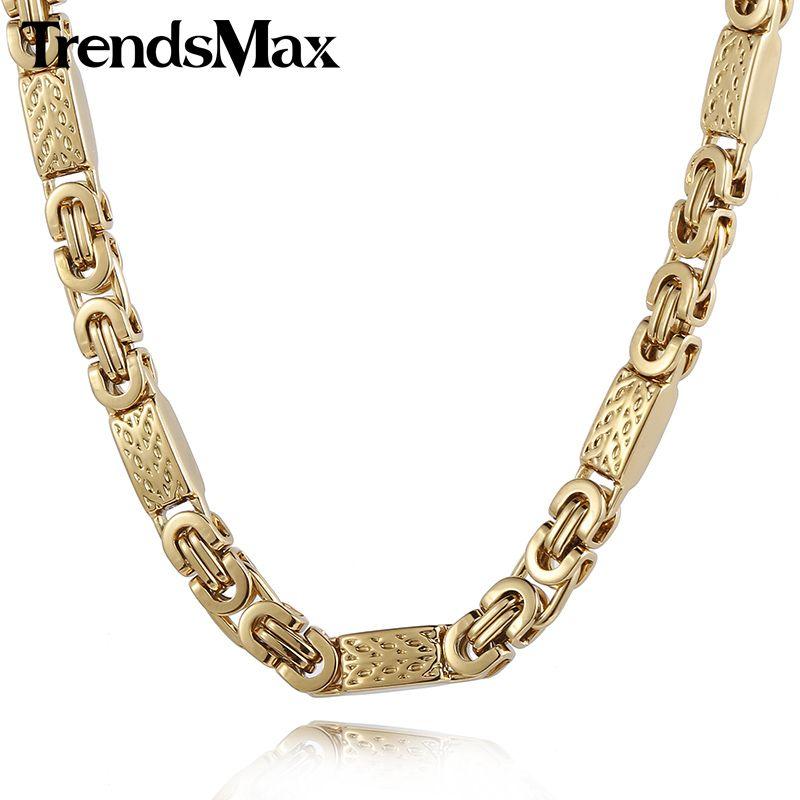 Goldkette gangster png  Trendsmax Fertigen JEDE Länge 6mm Breite Gold Farbe Byzantinischen ...