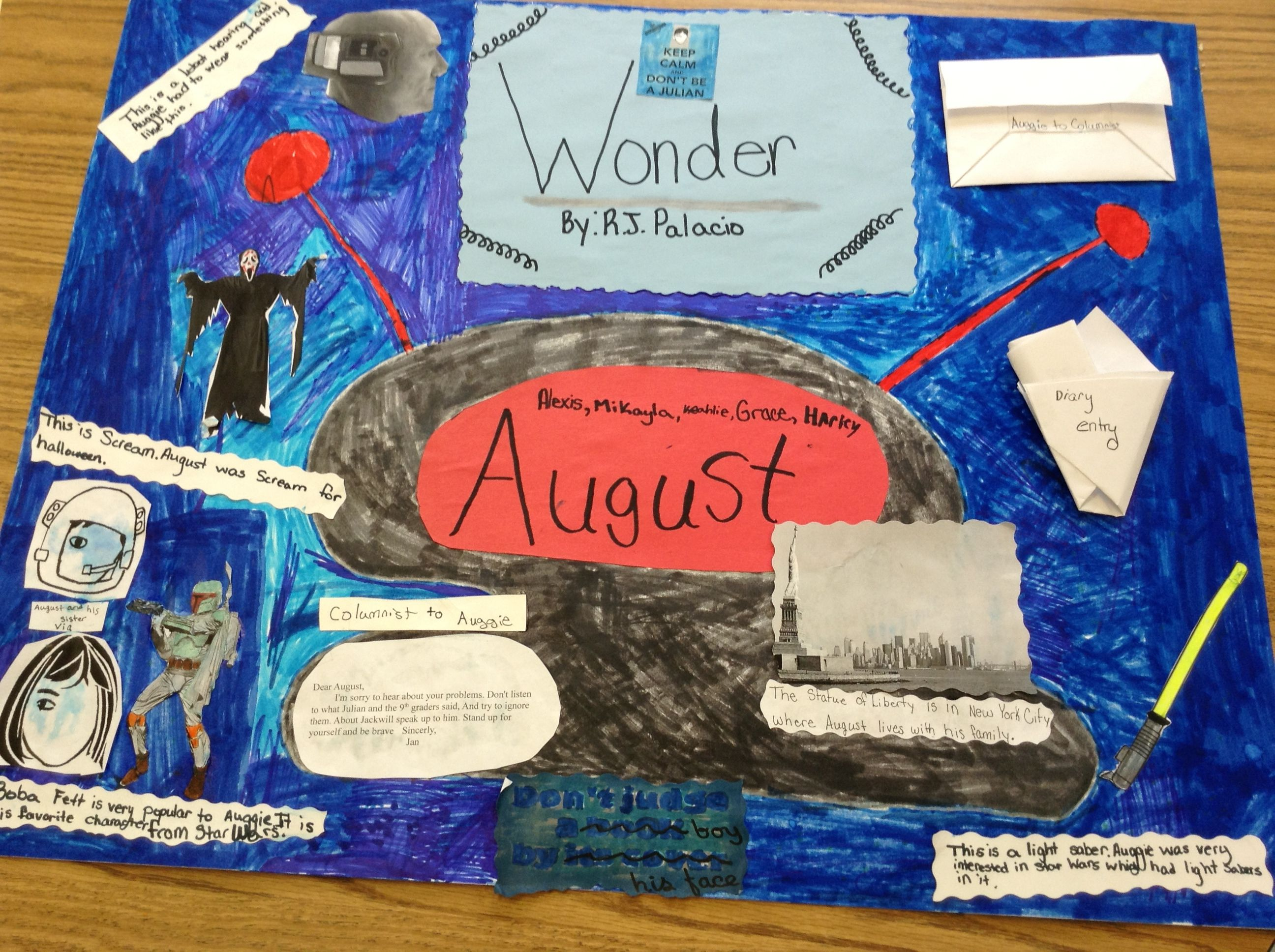 How to make scrapbook for school project - Wonder R J Palacio Scrapbook Project Wonder Novelschool Funmiddle Schoollibrary Ideasthird