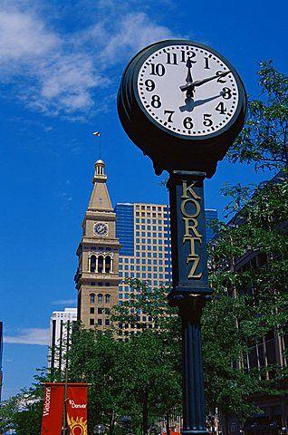 Clock On 16th Street Mall Denver Colorado United States Of America North Clock Colorado Antique Wall Clock