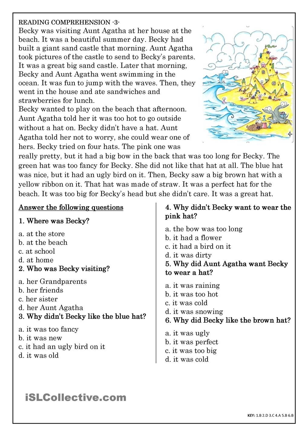 Worksheet Reading And Comprehension Exercises reading comprehension exercises esl scalien