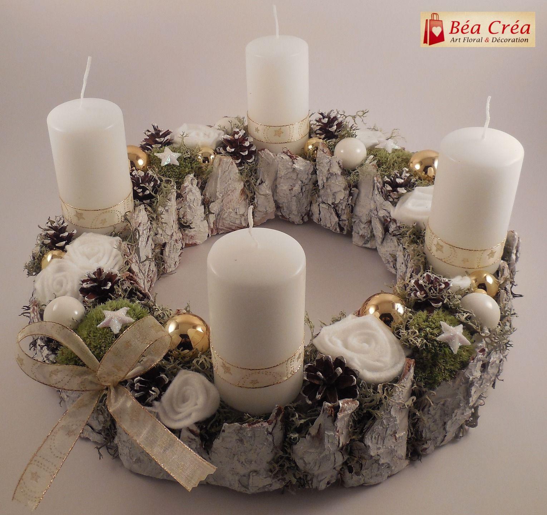 Couronne De L Avent Pour Noel Blanche Et Or Avec Bougies