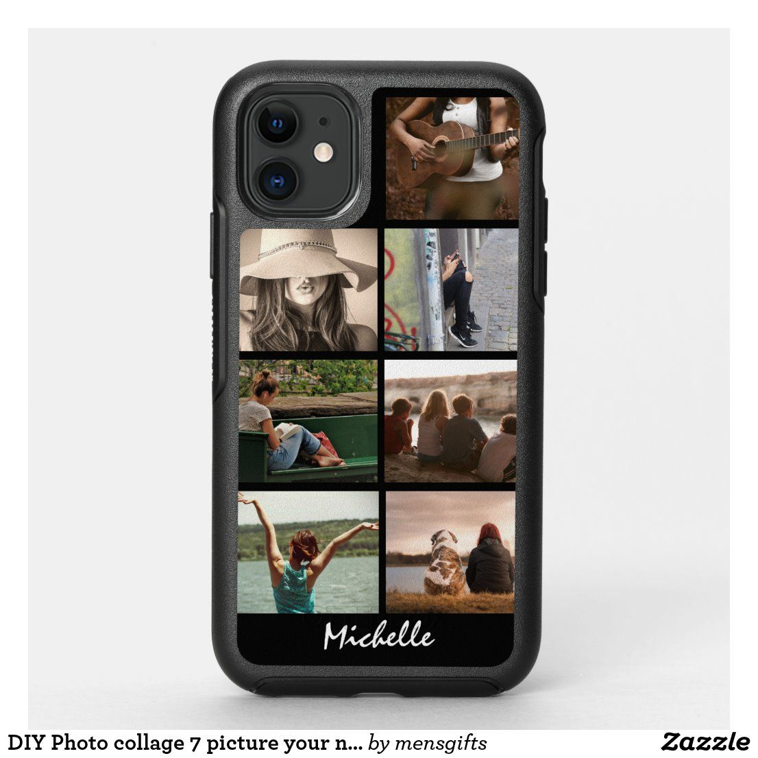 DIY Photo collage 7 picture your name black OtterBox iPhone Case | Zazzle.com