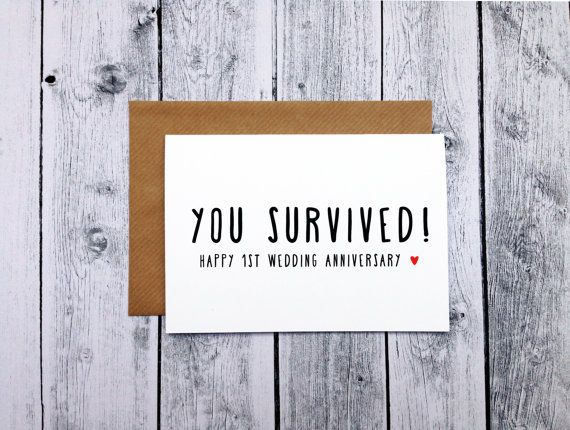 They did it! 1 whole year! Congratulate the happy couple with this funny 1st anniversary card. DETAILS: - Digitally printed on 300gsm smooth
