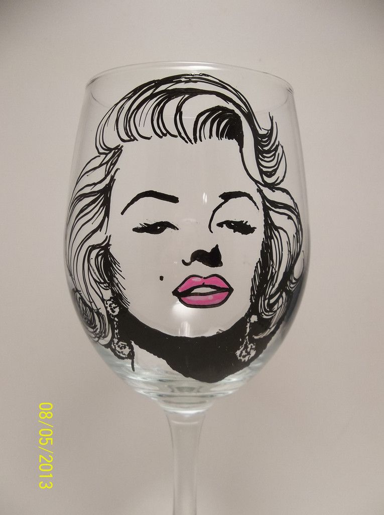 Marilyn Monroe, Hand painted wine glass