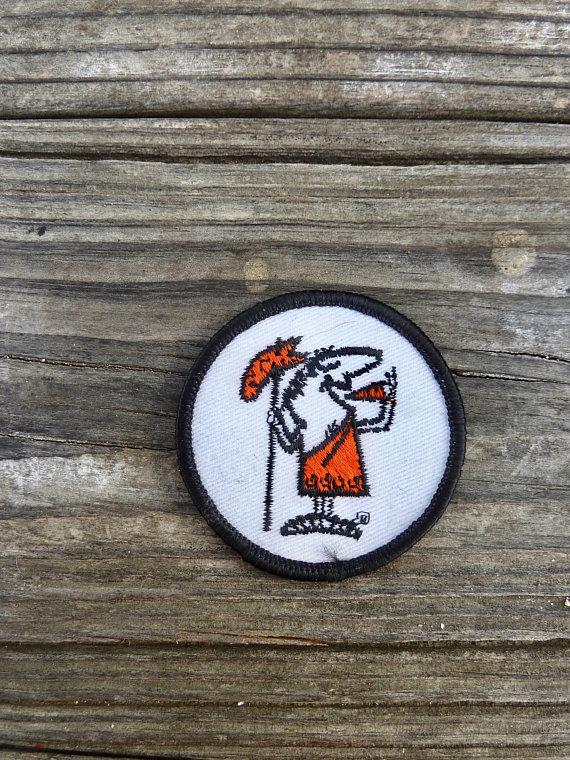 Little Caesars Pizza round patch, orange black and white