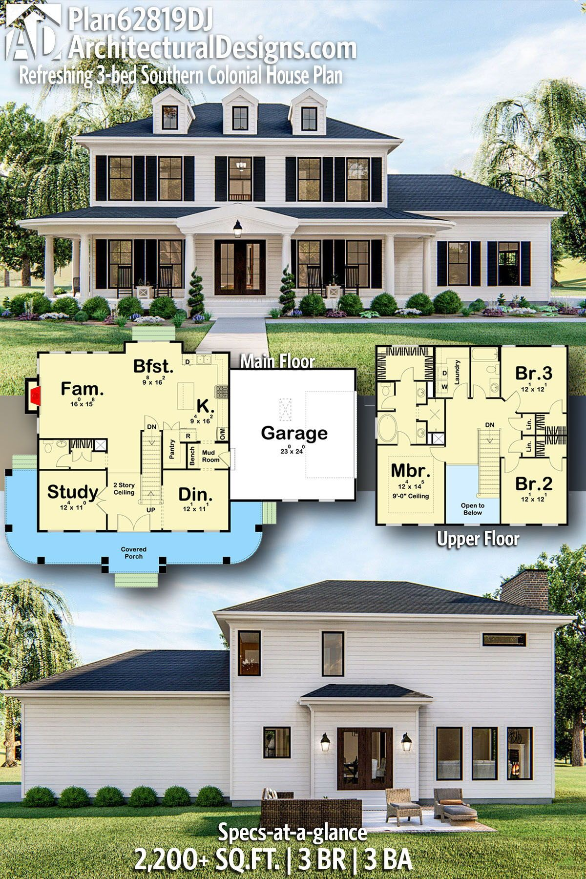 Plan 62819dj Refreshing 3 Bed Southern Colonial House Plan Colonial House Plans Southern Colonial House Plans Colonial House