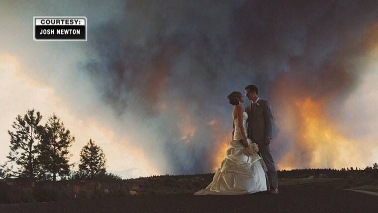 Oregan couple came close to having a wildfire ruin their wedding! This picture is amazing!!