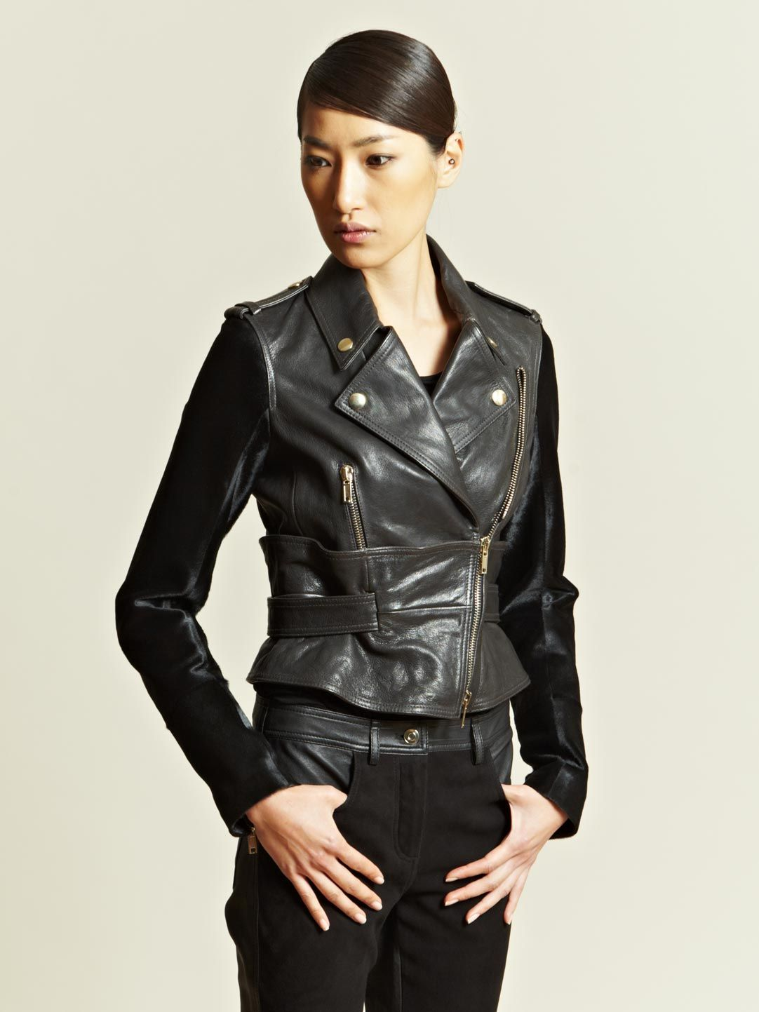 Designer Givenchy See Details Here Givenchy Womens Contrast Panel Leather Jacket Jackets For Women Designer Outfits Woman Coats Jackets Women [ 1443 x 1082 Pixel ]