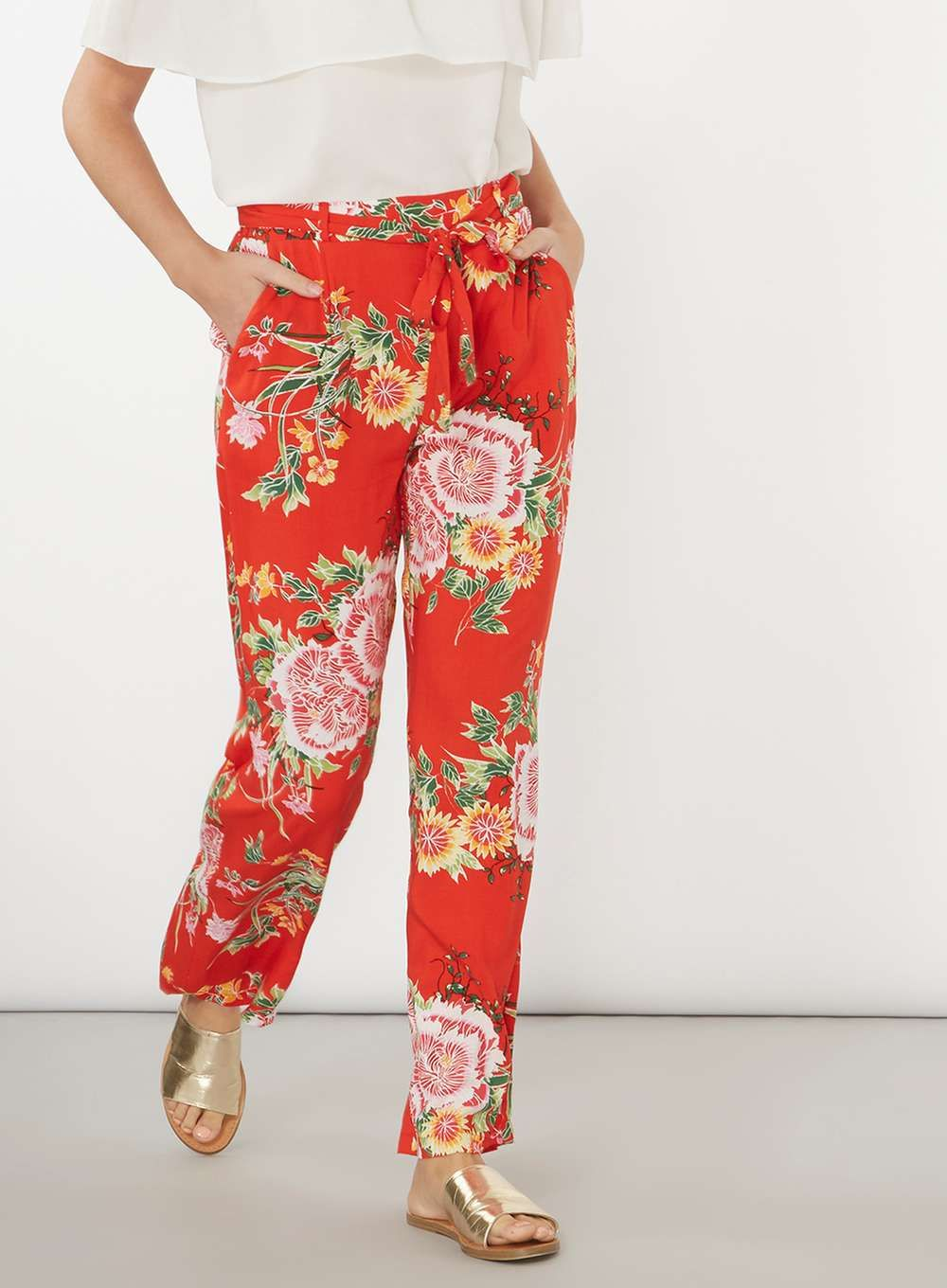 Red Oriental Palazzo Trousers - Trousers & Leggings - Clothing - Dorothy  Perkins