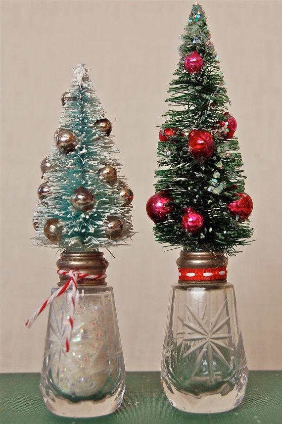 Bottle Christmas Decoration Bottle Brush Tree On Vintage Crystal Bottle Christmas Decor