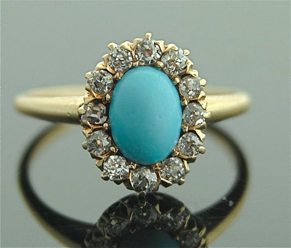 Vintage Womens Turquoise Ring Wedding Engagement Ring Lovers Gift Fashion Jewlry