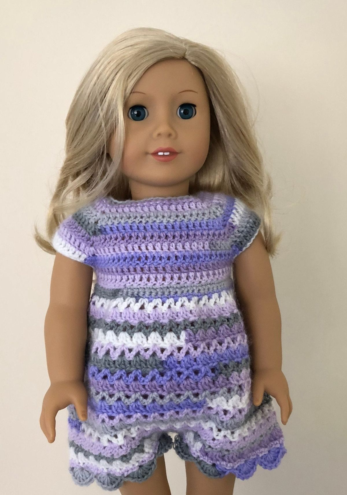 Purple multicoloured doll romper. 18 inch doll nightie. Hand crocheted dress for 18 doll such as American Girl. Doll outfit. Dolls clothes. #18inchdollsandclothes