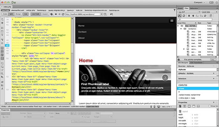 Designing Wordpress Themes In Dreamweaver Dreamweaver Adobe Dreamweaver Web Design Software