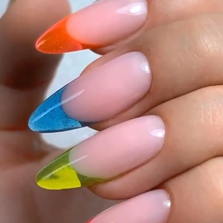 Stained glass French manicure