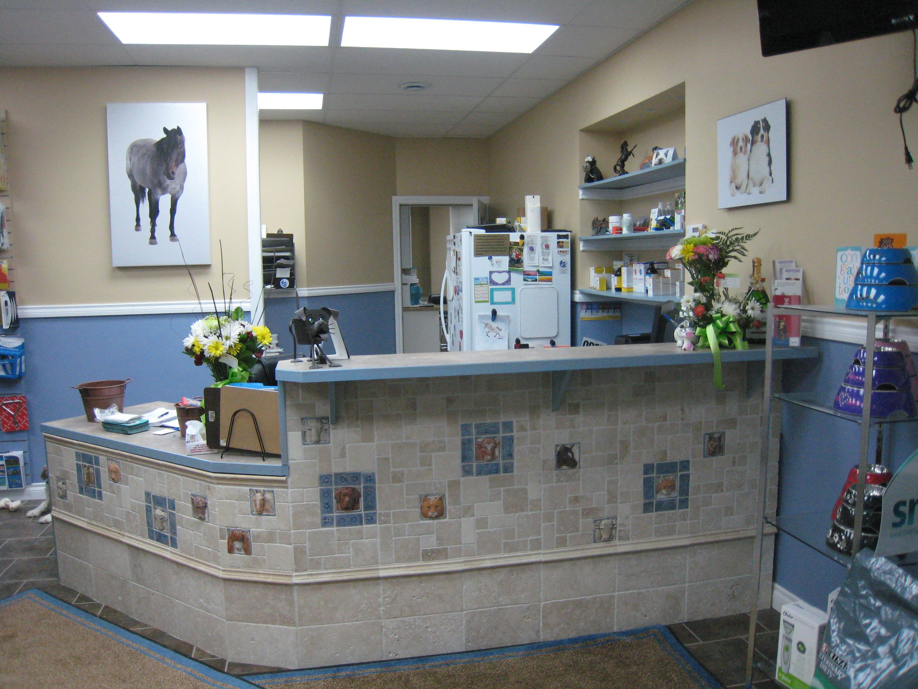 Larger view of Veterinary clinic\'s reception area with handcrafted ...