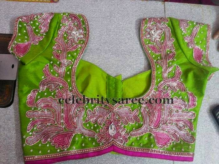 Parrot Green Chain Work Blouse | Saree Blouse Patterns | Heavy ...