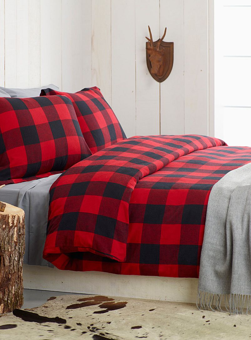 Red and black buffalo plaid bedding