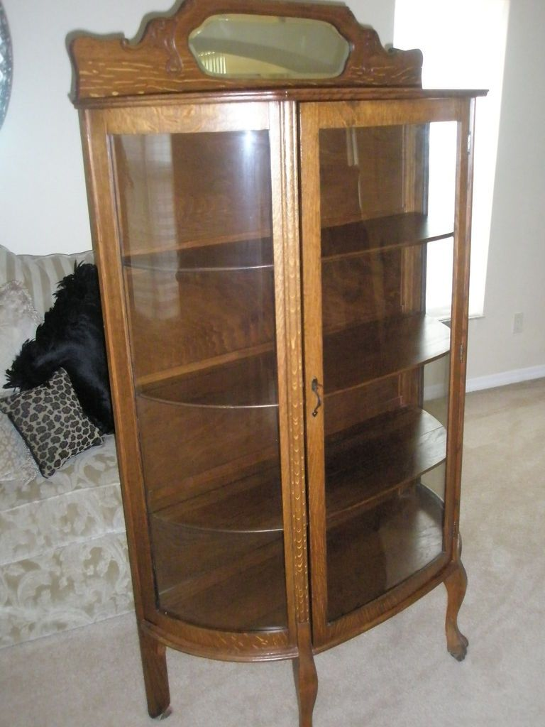 Antique Larkin Co Oak China Cabinet Curved Glass Backsplash W Beveled Glass China Cabinet Glass Curio Cabinets China Cabinet