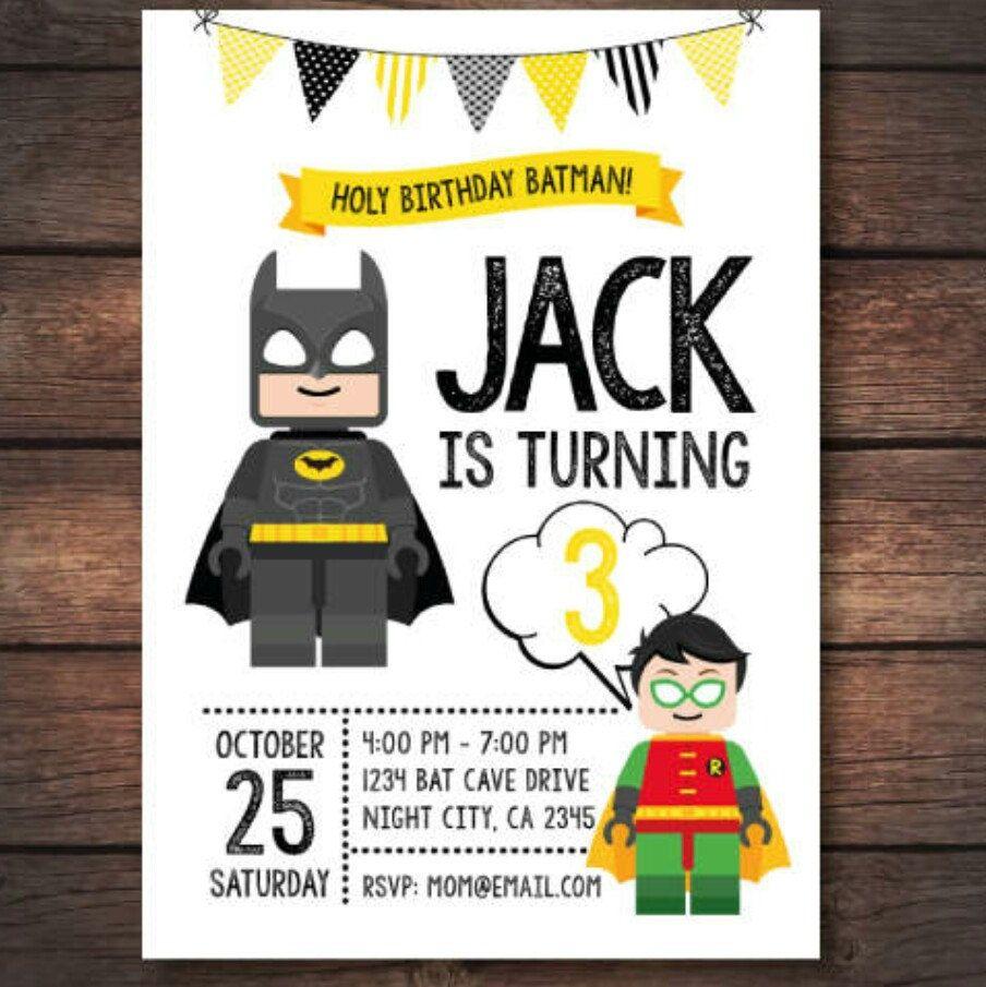 Cute lego batman invitation | Cumple Stefano | Pinterest | Batman ...