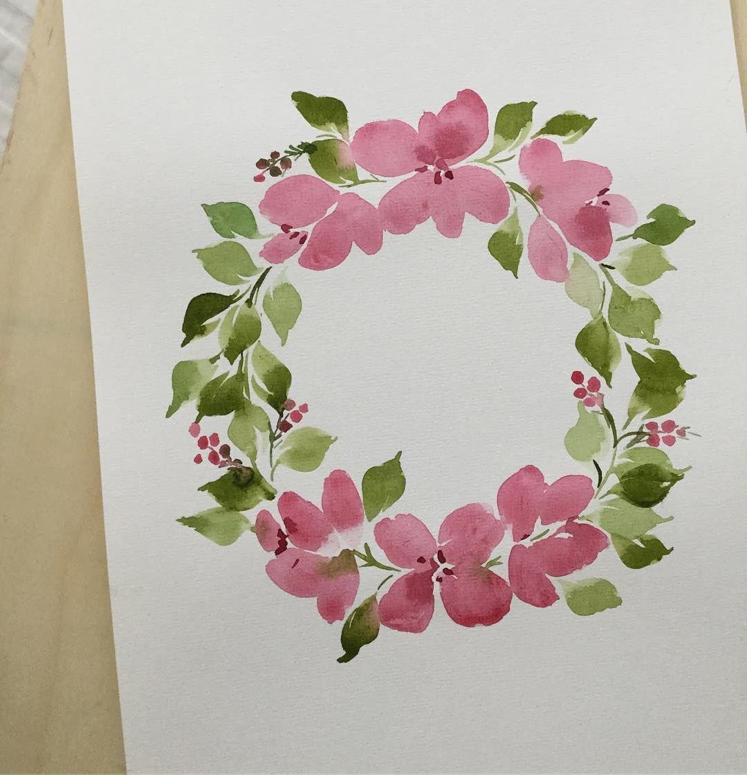 "Photo of Acrylic sign on Instagram: ""& # 39; s. . . #watercolor #watercolor flower #flower wreath #flower #watercolor wreath """