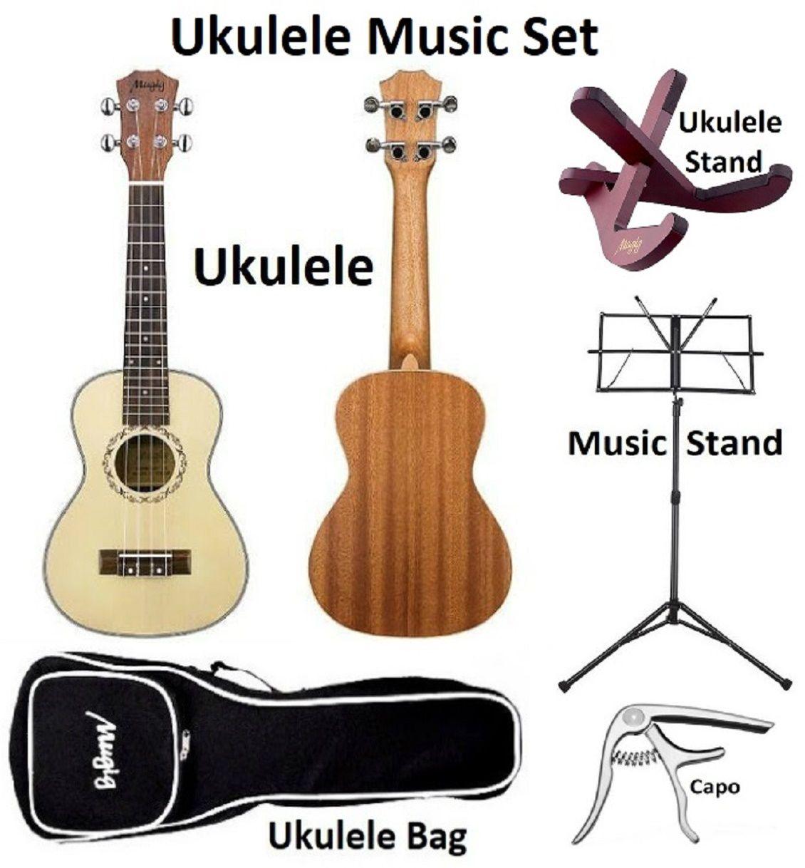 Mugig Ukulele Set, Music Stand, Capo, Ukulele Stand, Storage Bags, 23