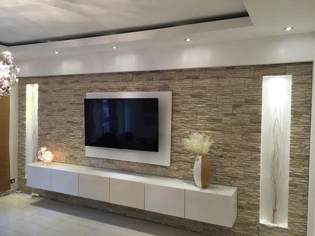 Bildergebnis Fur Holzwand Hinter Fernseher Tv Wand Wohnzimmer Steinwand Wohnzimmer Wohnungseinrichtung Wohnzimmer