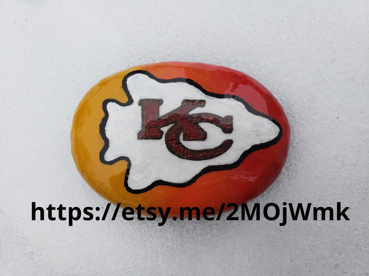 Kansas City Chiefs Painted Rock Painted Rocks Glitter Overlays Sports Paint