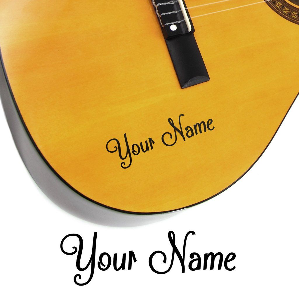 PERSONLISE CUSTOM NAME STICKER decal electric acoustic string guitar headstock