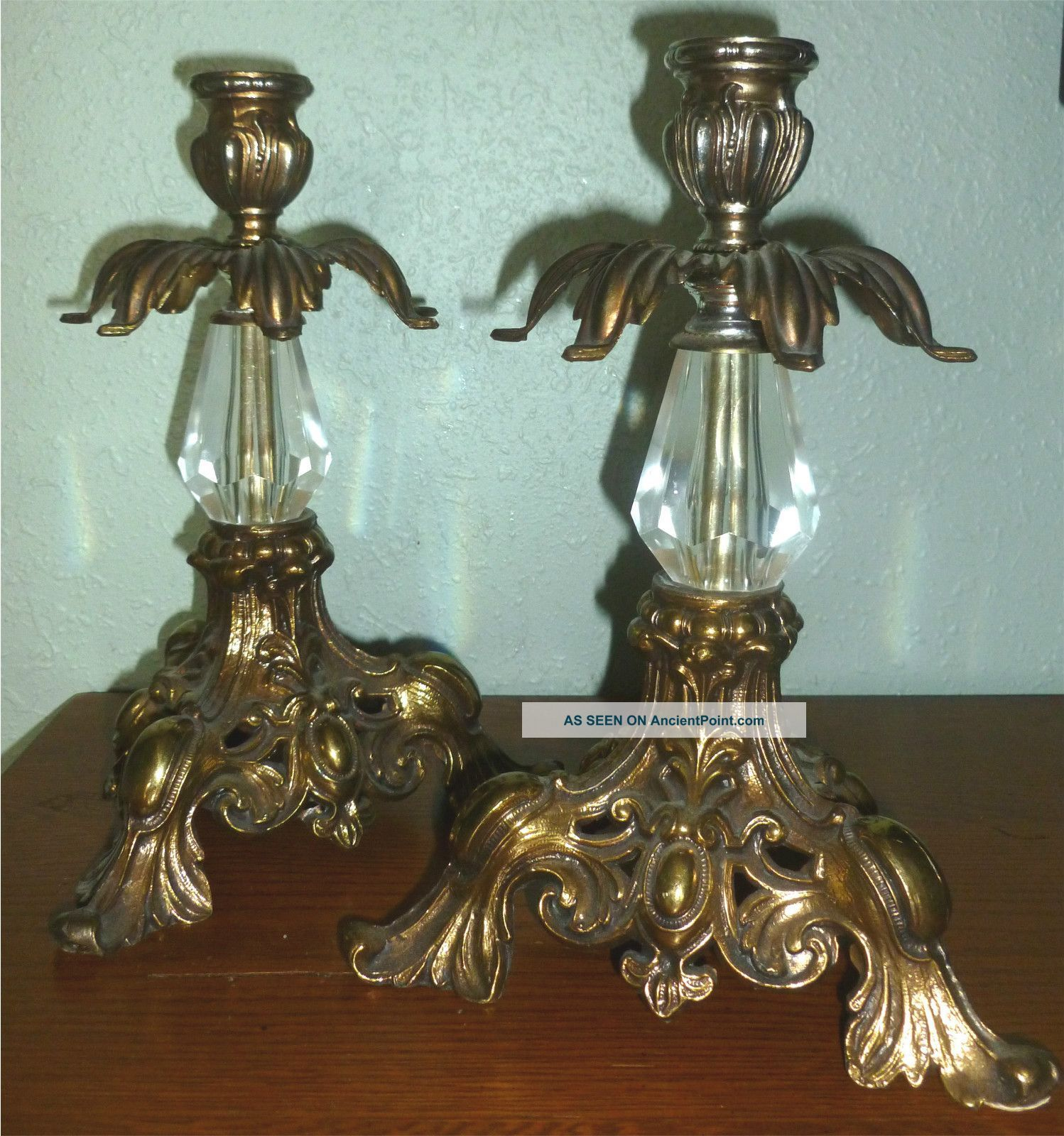 Set Of Victorian Antique Brass Metal Crystal Glass Candlestick Holders est value $50