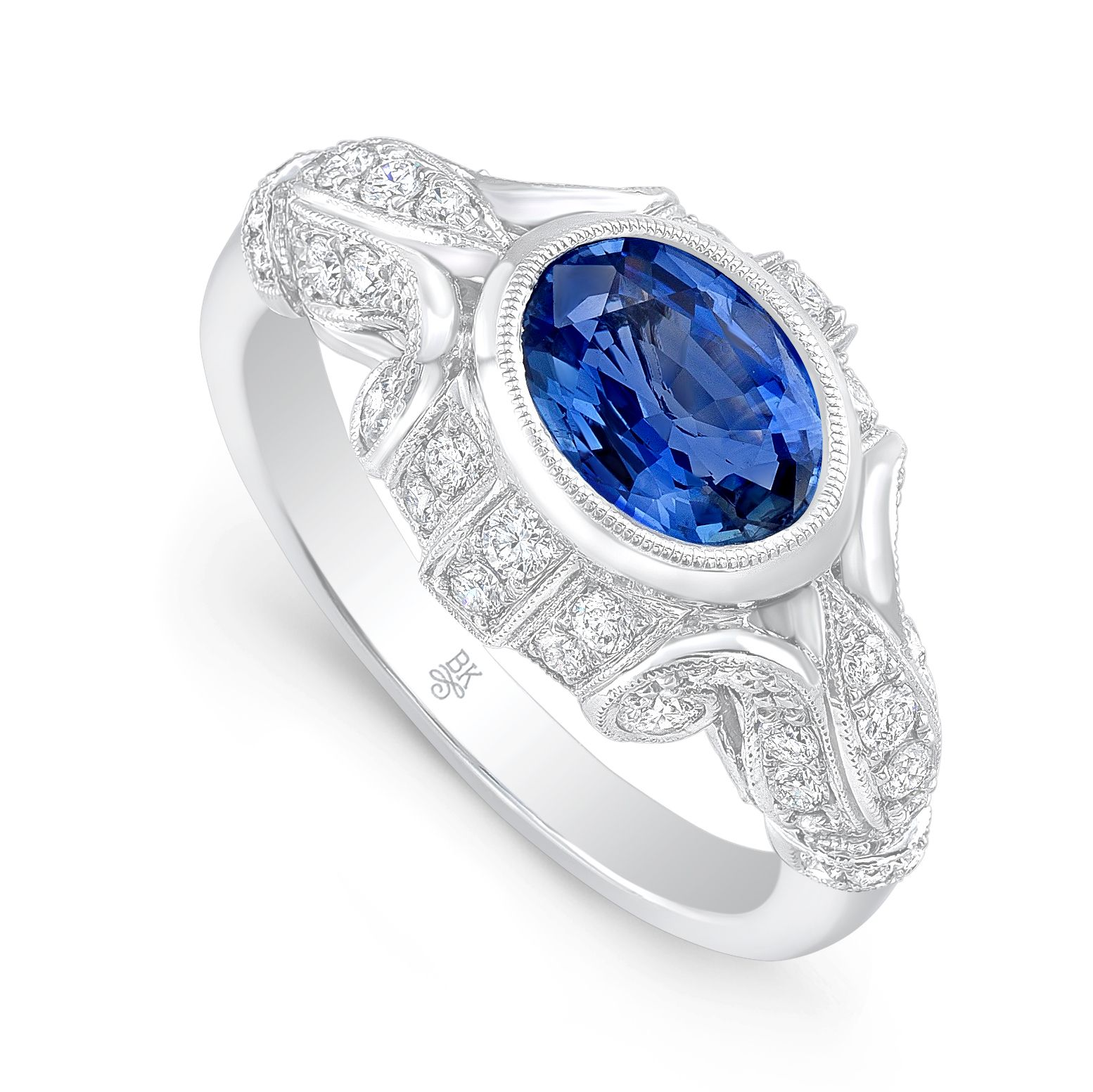 light ring a sapphire blue diamond red white item cognac gold