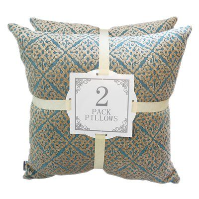 Kingray Home Textile Chenille Jacquard Throw Pillow Color: Turquoise