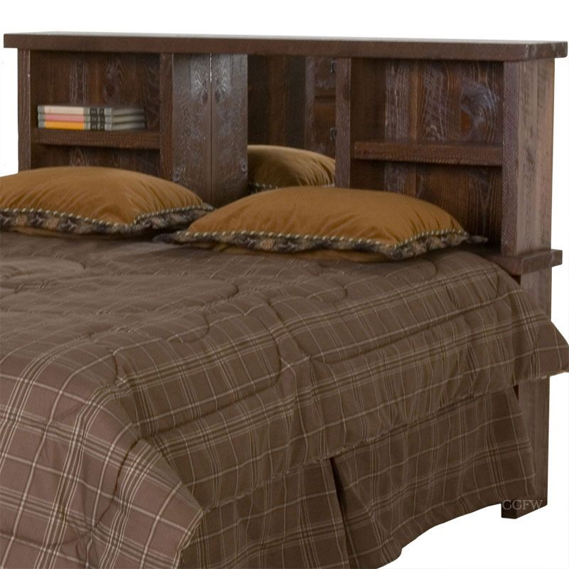 King size bed bookcase headboards barnwood timberton - King size headboard ideas ...