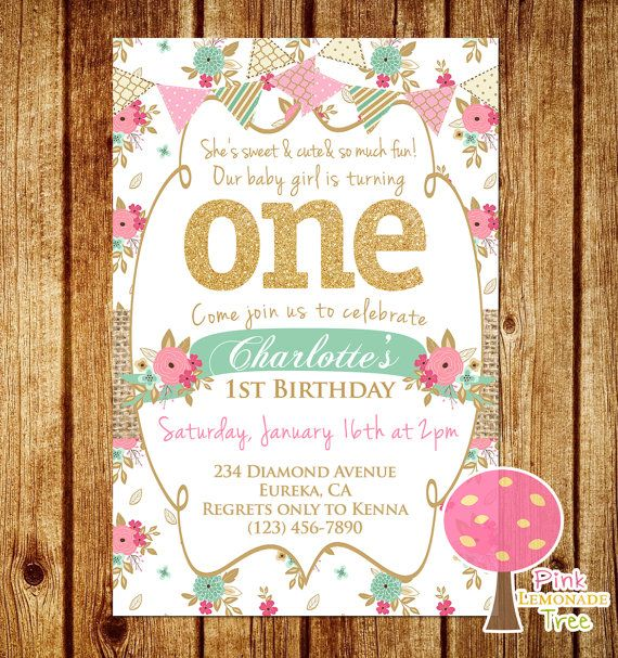 Shabby chic first birthday party invitation gold glitter birthday shabby chic first birthday party invitation gold glitter birthday invitation pink and mint one first birthday burlap filmwisefo Image collections
