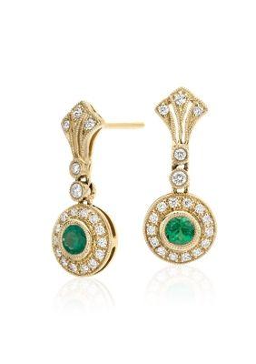 cd1f68390c2cd Emerald and Diamond Vintage-Inspired Milgrain Drop Earrings in 14k ...