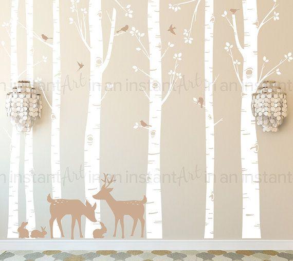 Wald Birke Baum Wand Aufkleber Wald Tiere Wandkunst