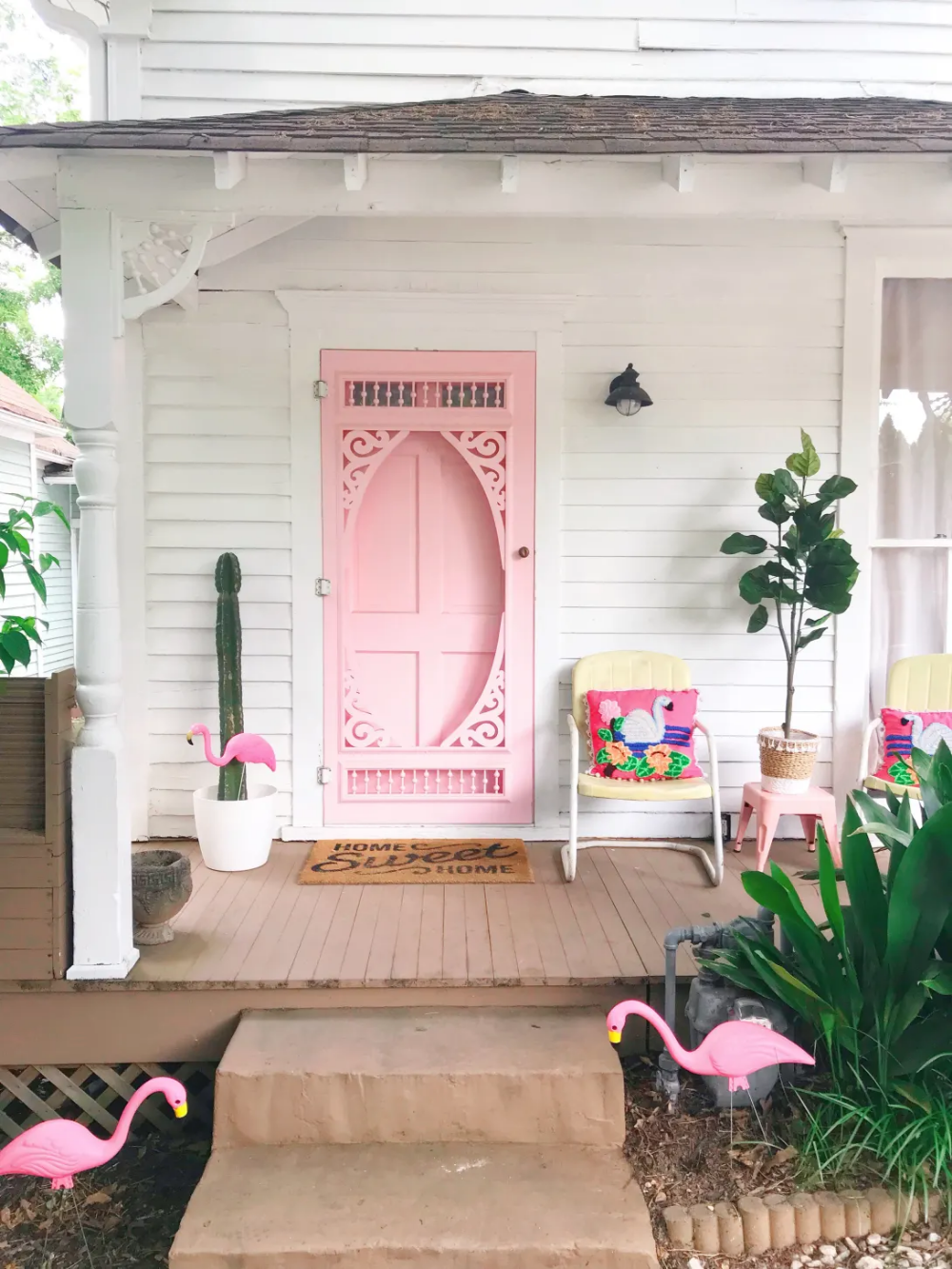 This House S Pink Door Is Just The Start Of Its Color Journey Pink Front Door Pink Door House Colors