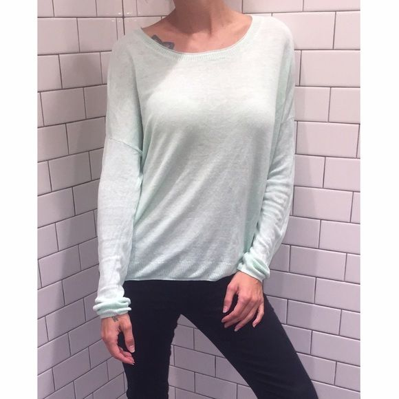 Comfy Madewell Mint Long Sleeve Shirt Large Madewell Mint Colored Long Sleeve Shirt! Tagged Large! Preloved! No holes or stains clean from a smoke free home! No Lowball offers please! Madewell Tops Tees - Long Sleeve