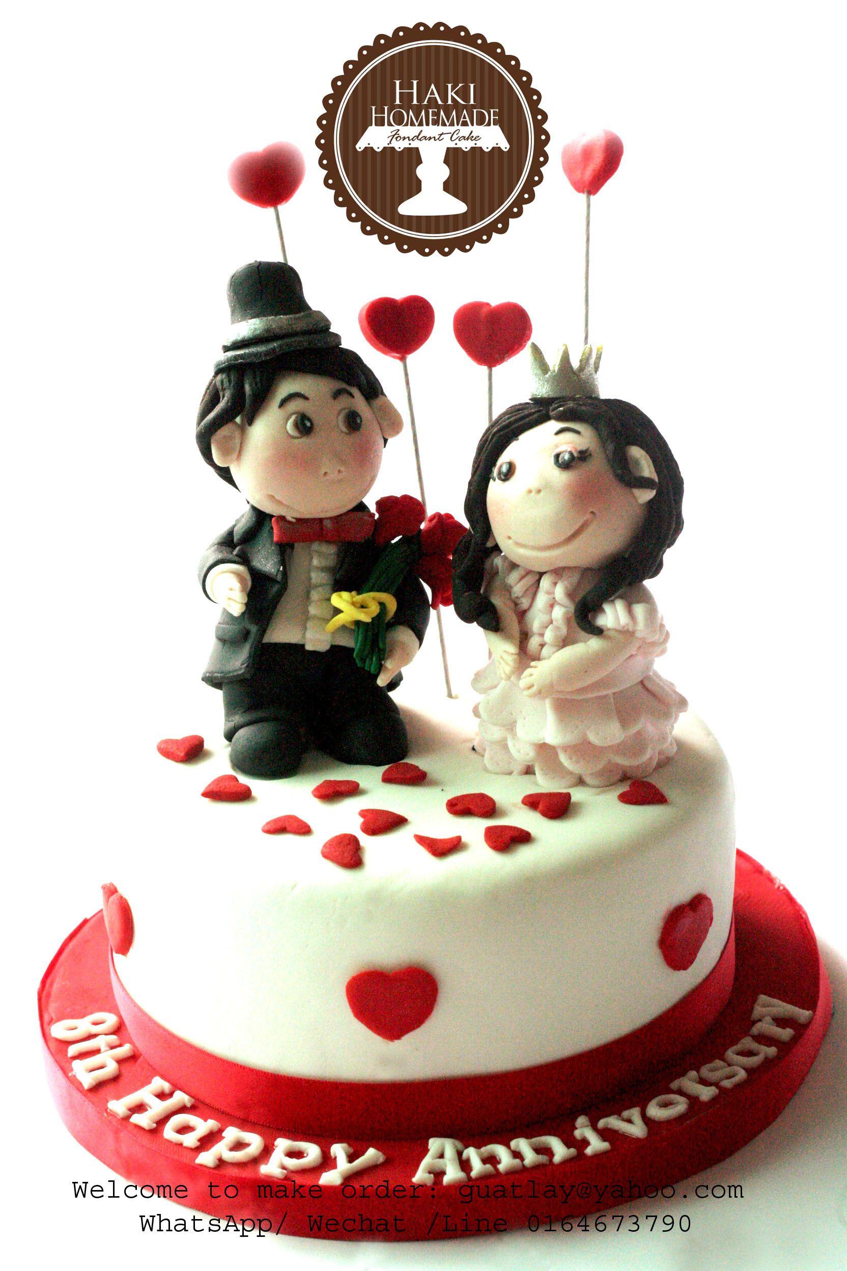 Homemade reception decorations cake ideas and designs - Happy Anniversary Fondant Cake