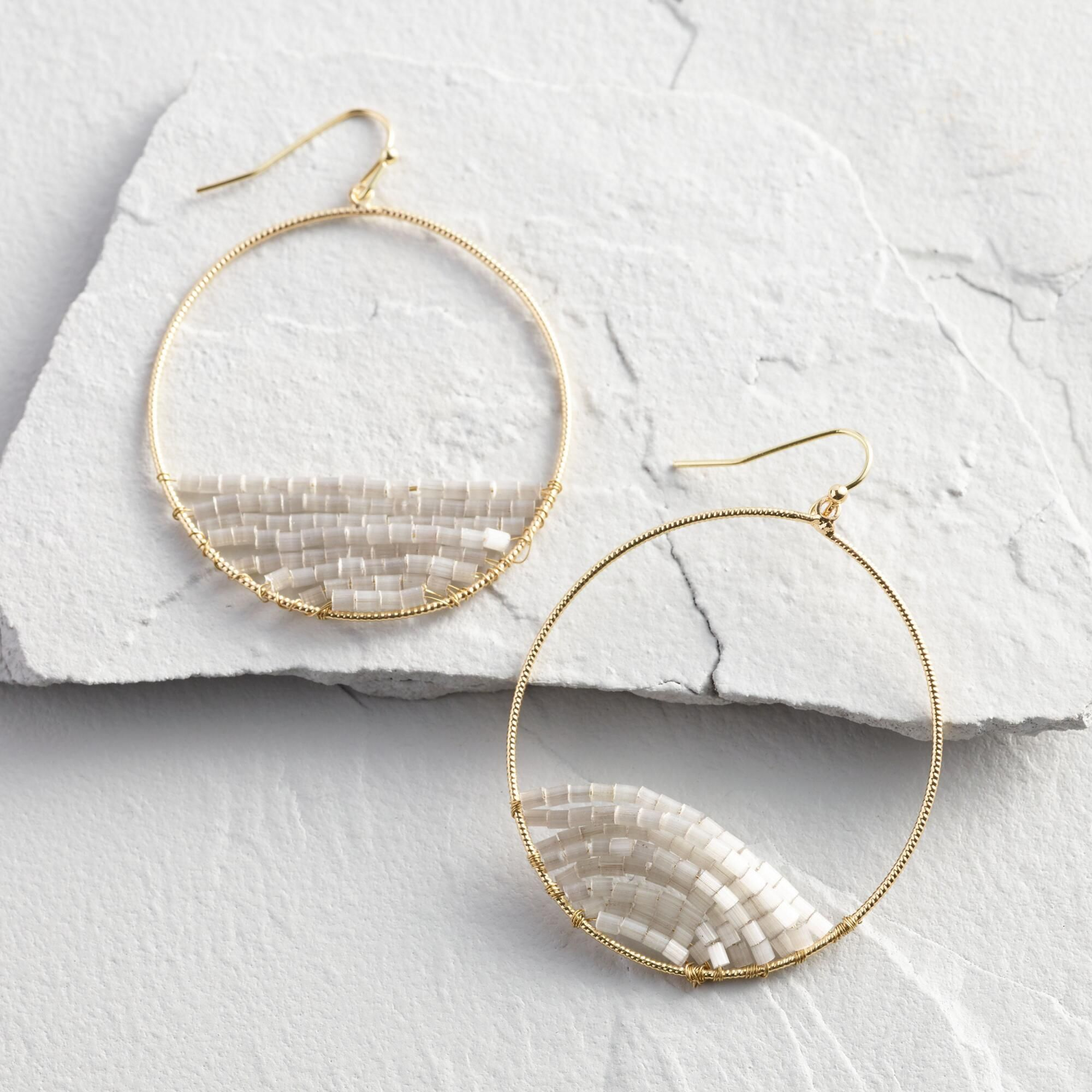 Photo of Gray Beaded Gold Circle Hoop Earrings by World Market