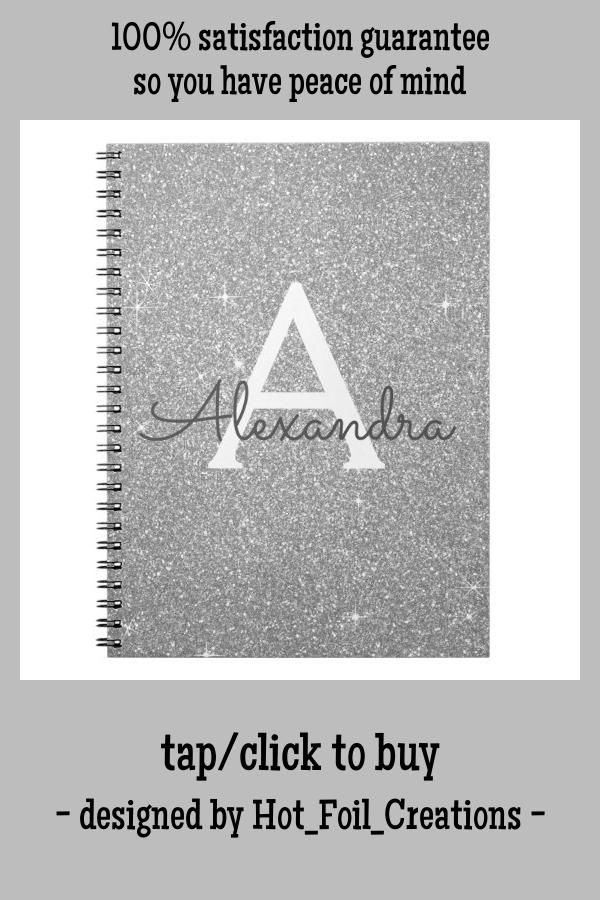 Luxury Silver Glitter Sparkle Monogram Notebook Zazzle Com Monogram Notebook Silver Glitter Monogram