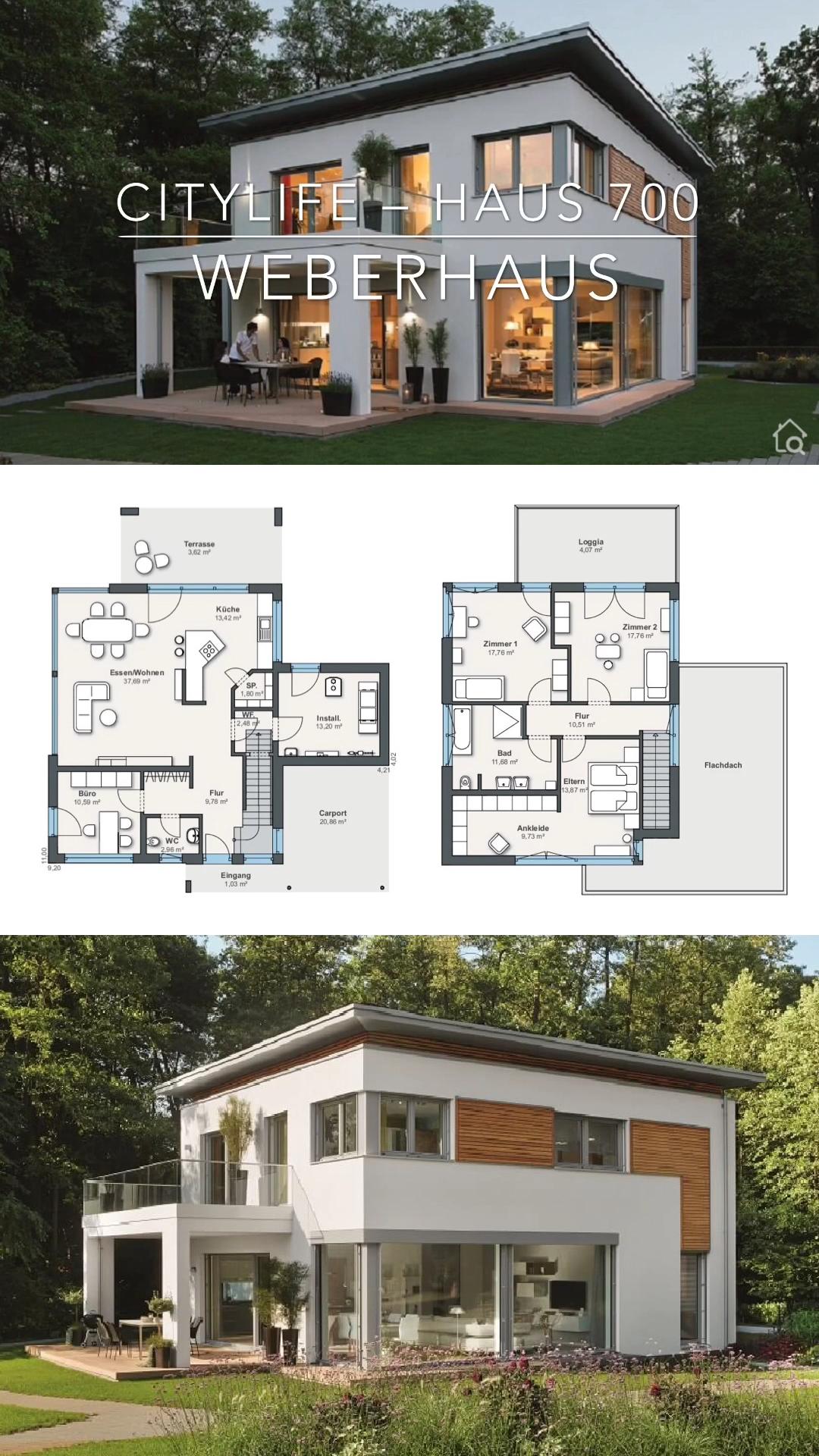 Einfamilienhaus modern mit Flachdach bauen Haus Ideen mit Grundriss