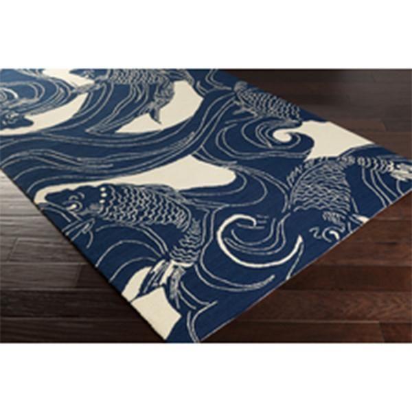 Koi Fish Waves Indoor Outdoor Rug Navy Blue Beige Scenario Home